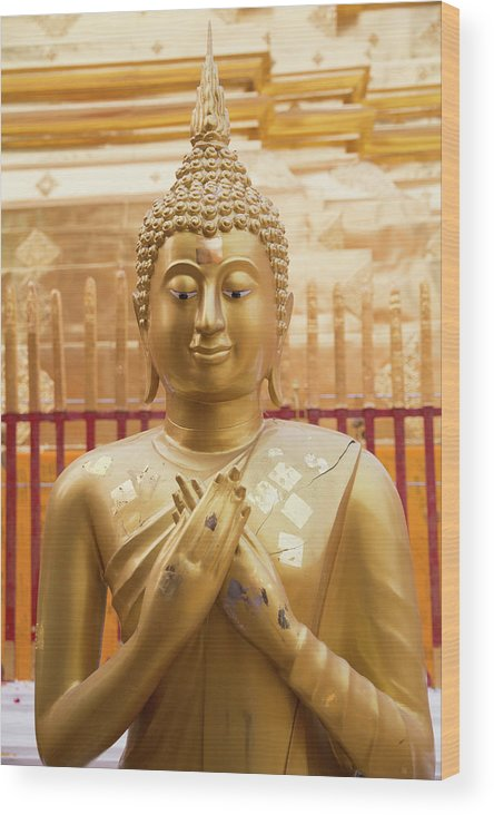 Asia Wood Print featuring the photograph Gold Leaf Buddha by Emily M Wilson