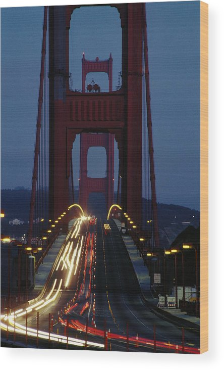 Evening Wood Print featuring the photograph Golden Gate Bridge by Carl Purcell