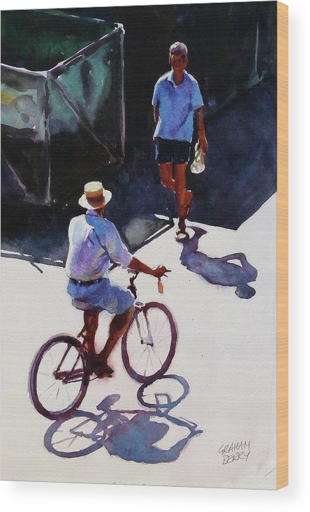 Cycle Wood Print featuring the painting Good Morning by Graham Berry