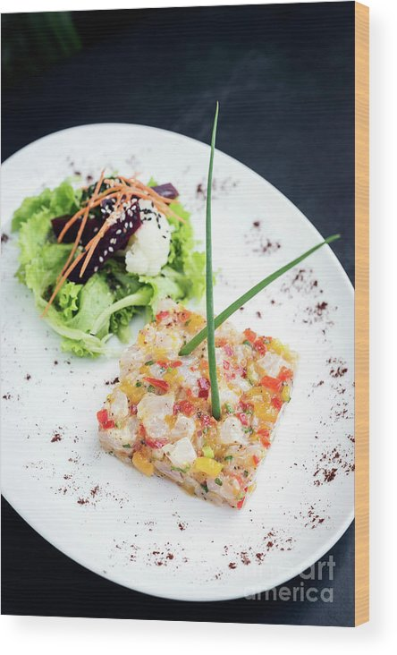 Artistic Wood Print featuring the photograph Gourmet Raw Tuna Tartare Ceviche With Mango Lime And Chilli by Jacek Malipan