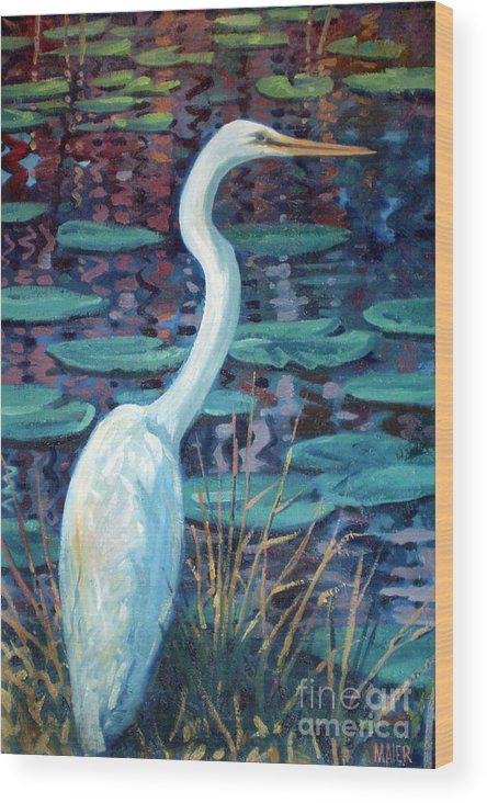 Egret Wood Print featuring the painting Great White Egret by Donald Maier