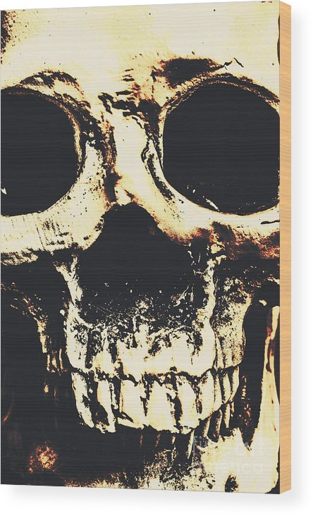 Skulls Wood Print featuring the photograph Grim Grin by Jorgo Photography - Wall Art Gallery