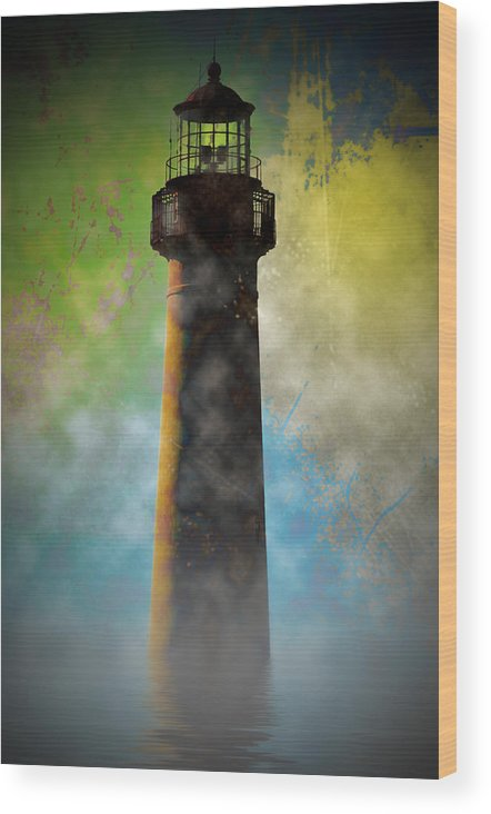 Grunge Wood Print featuring the photograph Grunge Lighthouse by Bill Cannon