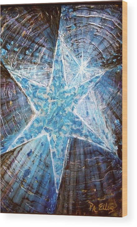 Heavy Texture Mosaic Six Point Star Multi Level Blue Wood Print featuring the painting Guiding Light by Pam Ellis