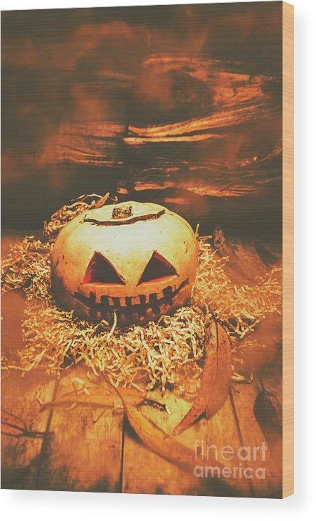 Pumpkin Wood Print featuring the photograph Halloween In Fall. Still Life Pumpkin Head by Jorgo Photography - Wall Art Gallery