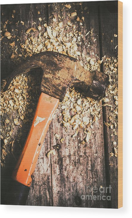 Carpentry Wood Print featuring the photograph Hammer Details In Carpentry by Jorgo Photography - Wall Art Gallery