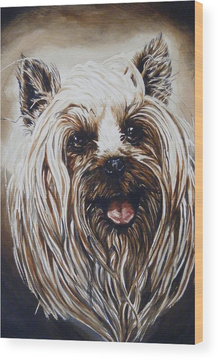 Dog Portraite Wood Print featuring the painting Happy Face by Donald Dean