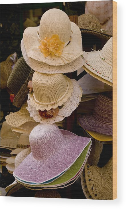 Hat Wood Print featuring the photograph Hats Capri Italy by Xavier Cardell