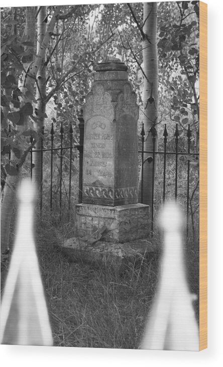 Black And White Wood Print featuring the photograph Headstone Near Central City Colorado by Robert Gladwin
