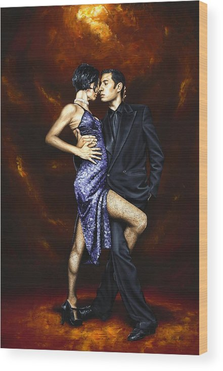 Tango Dancers Love Passion Female Male Woman Man Dance Wood Print featuring the painting Held In Tango by Richard Young