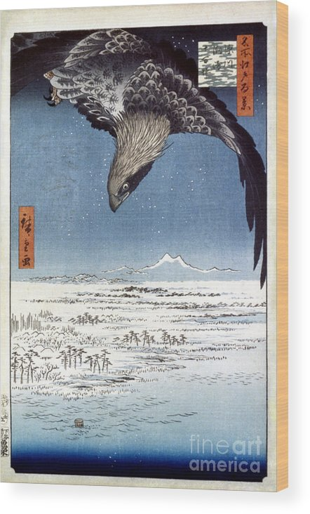 100 Famous Views Of Edo Wood Print featuring the photograph Hiroshige: Edo/eagle, 1857 by Granger