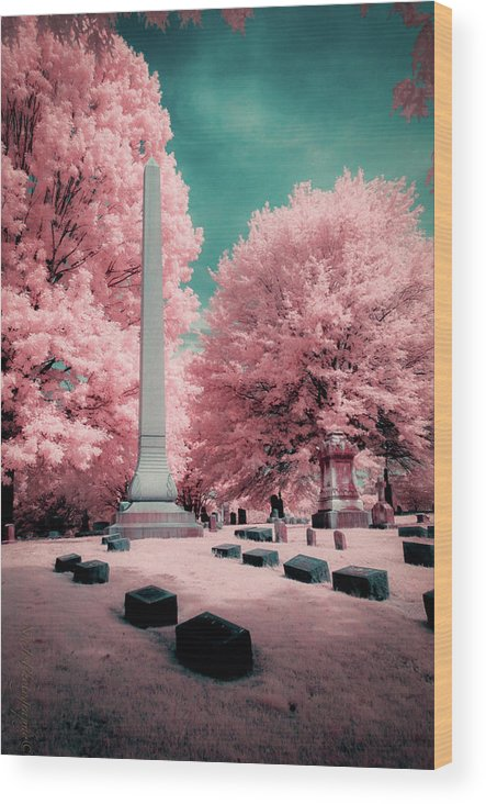 Historic Wood Print featuring the photograph Historic Cemetery In Infrared by Natasha Rawls