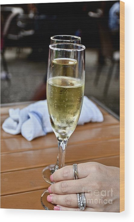 Adult Beverage Wood Print featuring the photograph Holding Champagne Glass In Hand by Jeramey Lende