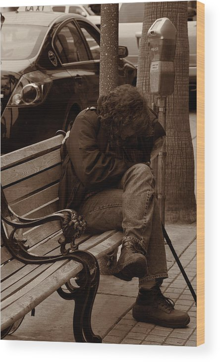 Manhattan Beach Wood Print featuring the photograph Homeless - Sepia by Lawrence Drake