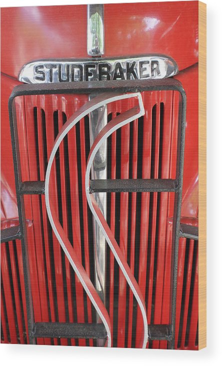 Automobile Wood Print featuring the photograph Hood And Grill Badge by Douglas Miller