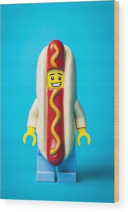 Lego Minifigure Wood Print featuring the photograph Hotdog Dude by Samuel Whitton