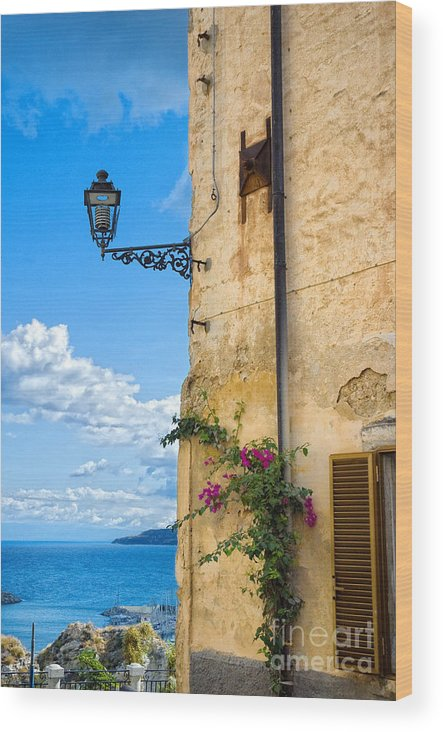 Architecture Wood Print featuring the photograph House With Bougainvillea Street Lamp And Distant Sea by Silvia Ganora