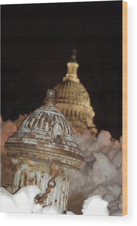 Washington Dc Wood Print featuring the photograph Hydrant Capitol Washington Dc by Thomas Michael Corcoran
