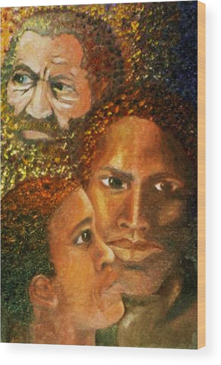 Portrait Wood Print featuring the painting I Am A Man by Alima Newton