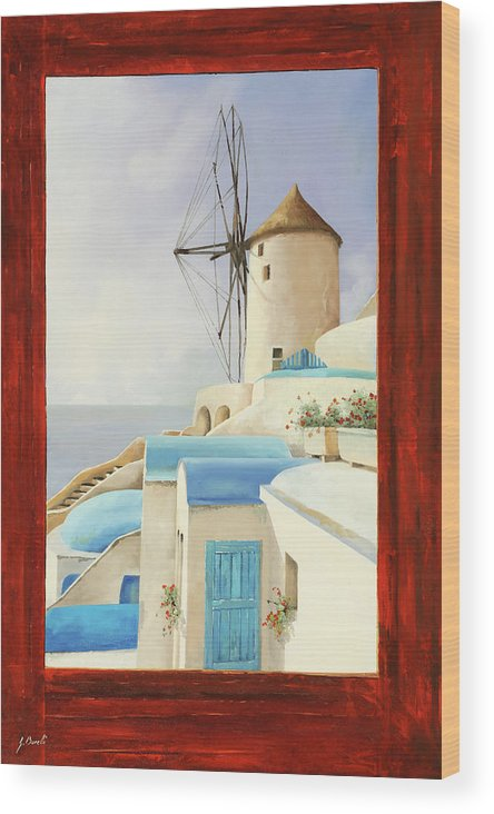 Windmill Wood Print featuring the painting Il Mulino Oltre La Finestra by Guido Borelli