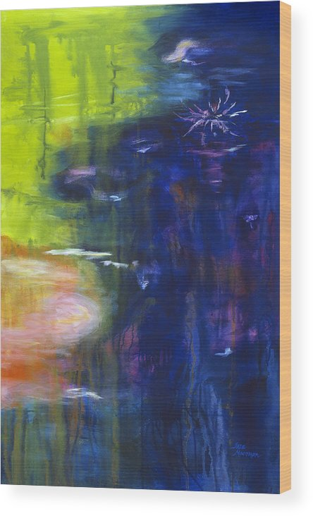 Abstract Wood Print featuring the painting In The Flow by Tara Moorman