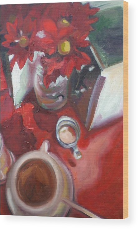 Coffee Wood Print featuring the painting In The Mood For Coffee by Aleksandra Buha