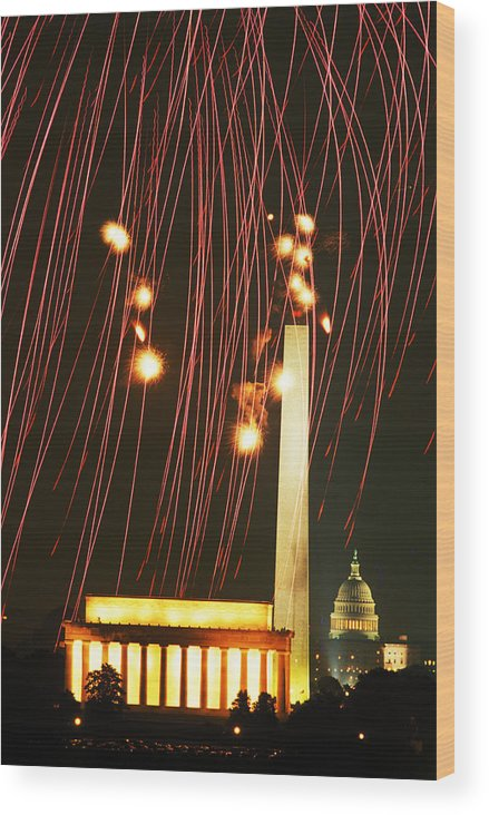 Wood Print featuring the photograph In The Rockets Red Glare by Carl Purcell