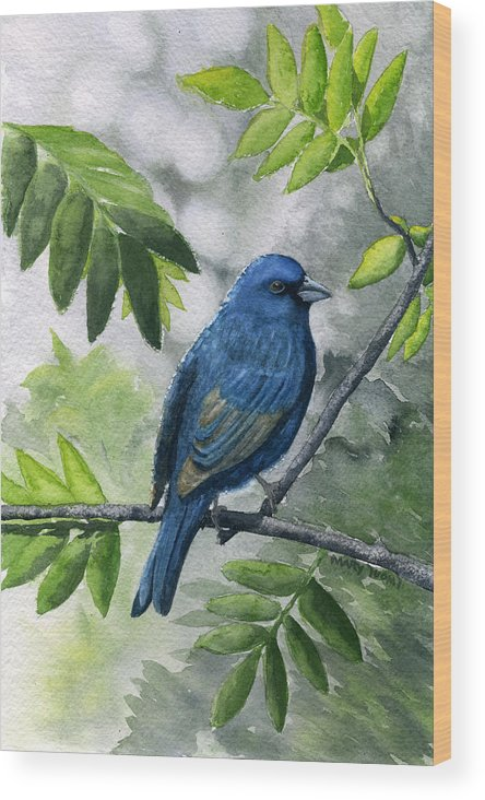 Blue Wood Print featuring the painting Indigo Bunting by Mary Tuomi