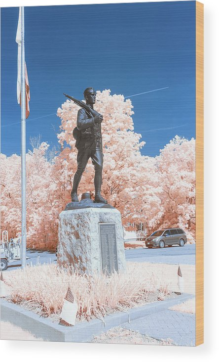 Ir Infrared Infra Red Outside Outdoors Hopkinton Ma Mass Massachusetts Brian Hale Brianhalephoto Military Solider Statue Usa U.s.a. World War 1 I Wwi Wood Print featuring the photograph Infrared Memorial by Brian Hale