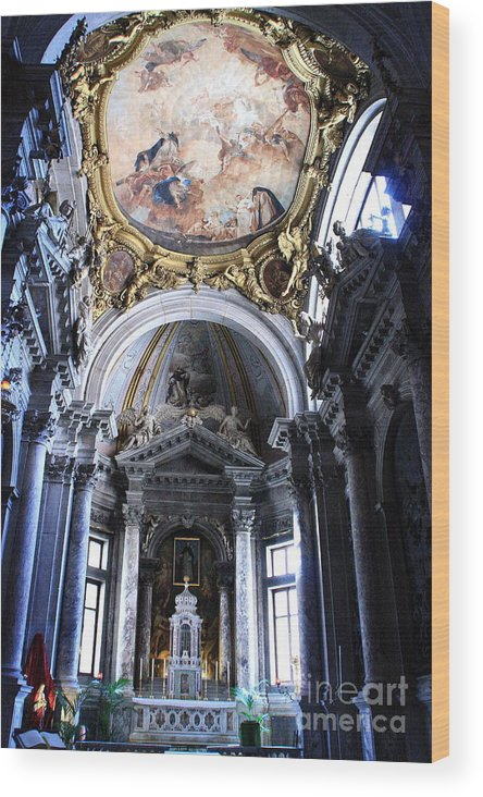 Venice Wood Print featuring the photograph Inside The Church Santa Maria Della Salute In Venice by Michael Henderson