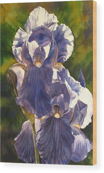 Iris Wood Print featuring the painting Into The Blue by Alfred Ng