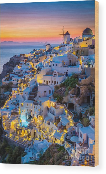 Aegean Sea Wood Print featuring the photograph Oia Sunset by Inge Johnsson