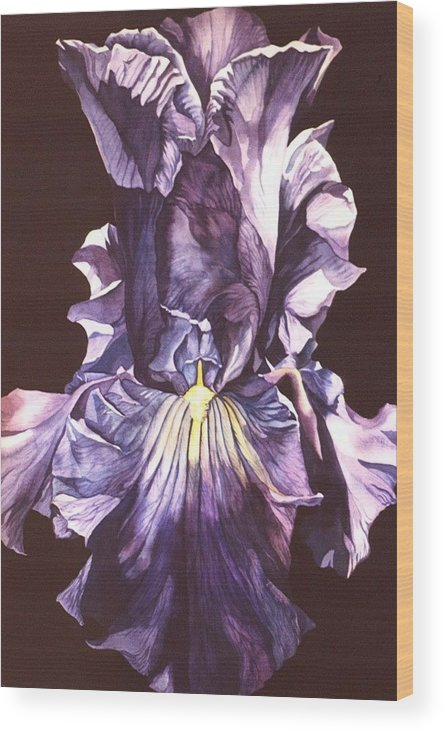 Flower Wood Print featuring the painting Iris At Night by Alfred Ng