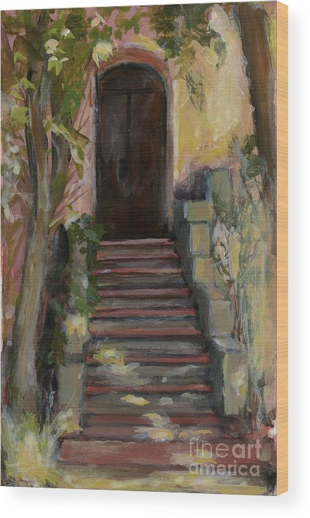 Landscape Wood Print featuring the painting Italy 002 - Somewhere In Sicily by Silvana Siudut