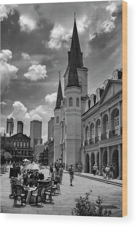 Jackson Square Wood Print featuring the photograph Jackson Square In Black And White by Greg Mimbs