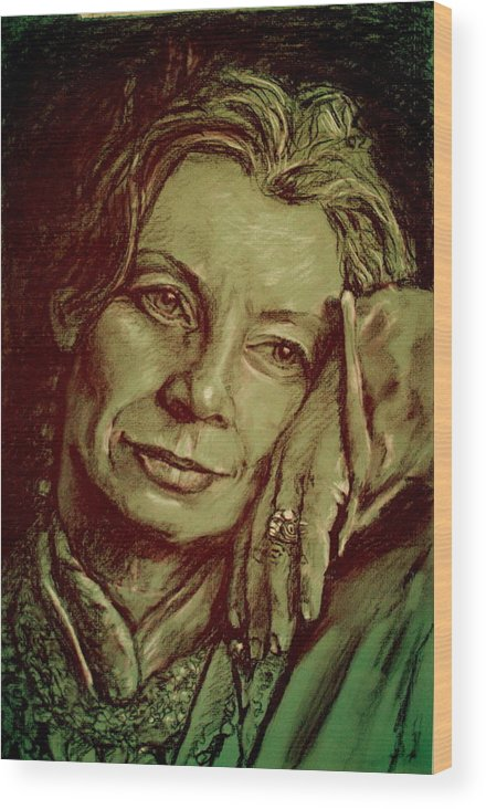Portrait Artwork Wood Print featuring the painting Jacqueline by Dan Earle