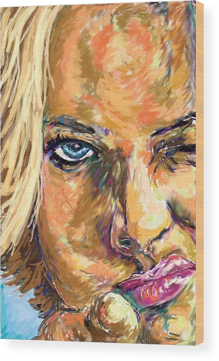 Jaime Pressly Wood Print featuring the painting Jaime Pressly by Travis Day