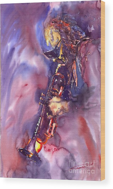 Davis Figurative Jazz Miles Music Musiciant Trumpeter Watercolor Watercolour Wood Print featuring the painting Jazz Miles Davis Electric 3 by Yuriy Shevchuk