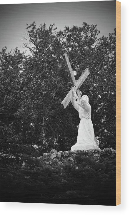 Christian Wood Print featuring the photograph Jesus With Cross by Holly Clyburn