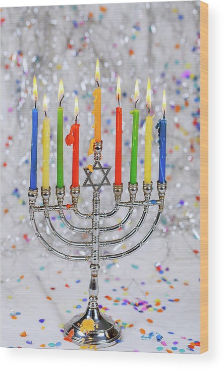 Judaism Wood Print featuring the photograph Jewish Holiday Hannukah Symbols - Menorah by Valentyn Semenov