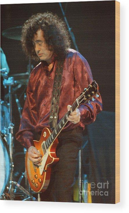 Robert Plant Wood Print featuring the photograph Jimmy Page-0020 by Timothy Bischoff