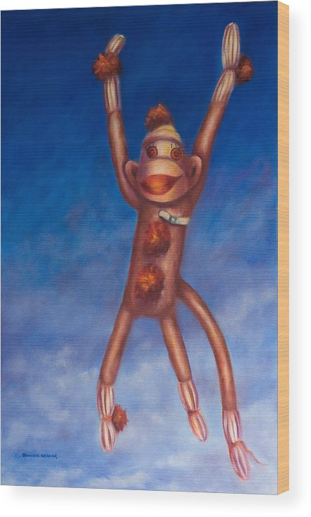 Children Wood Print featuring the painting Jump For Joy by Shannon Grissom