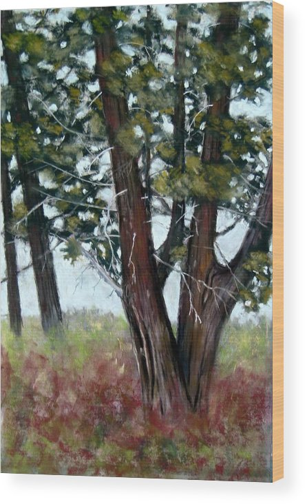 Landscape Wood Print featuring the painting Juniper by Carl Capps