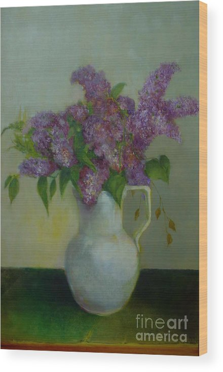 Greeting Card Wood Print featuring the painting Just Lilacs         Copyrighted by Kathleen Hoekstra