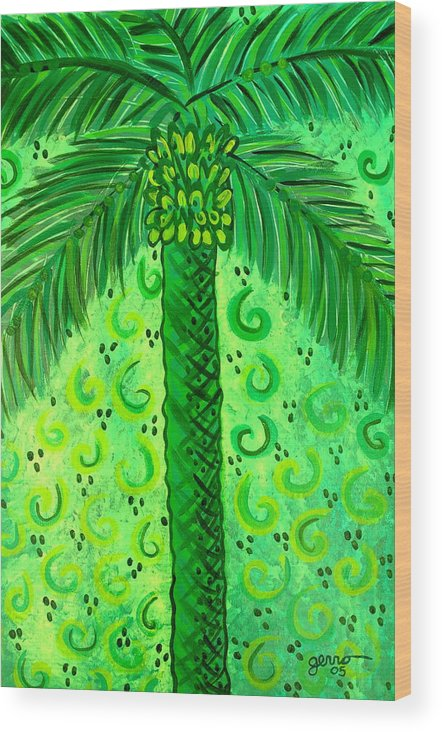 Palm Trees Wood Print featuring the painting Key Lime Palm by Helen Gerro
