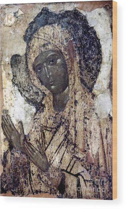 14th Century Wood Print featuring the photograph Khalkopratiyskaya Virgin by Granger
