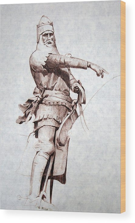 Pen And Ink Wood Print featuring the drawing Knight by Kerry Burch