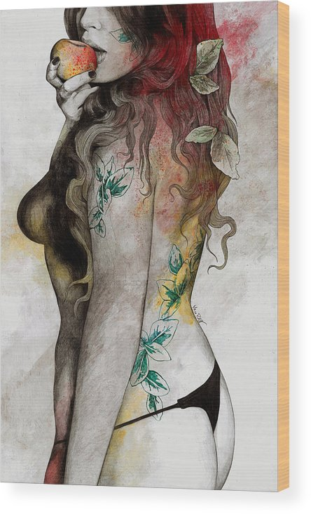Thong Wood Print featuring the drawing Koi No Yokan - Erotic Drawing, Sexy Tattoo Girl In Thong Biting An Apple by Marco Paludet