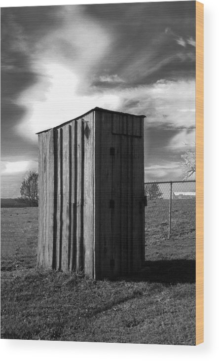 Ansel Adams Wood Print featuring the photograph Koyl Cemetery Outhouse by Curtis J Neeley Jr