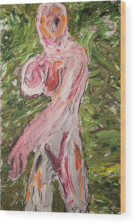 Nude Abstract Wood Print featuring the painting Lady08 by Ira Stark